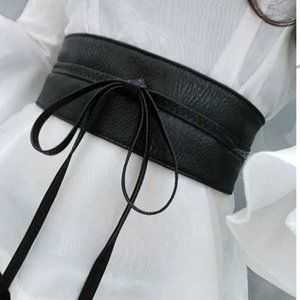 PU Leather Textured Tie-Waist Belt